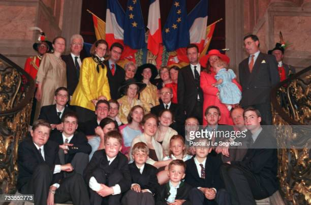 Reception in the Chateau of Haroue family photo with the Archduke and Duchess of Hapsbourg