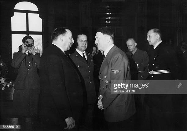 Reception in the Upper Belvedere in Vienna on the occasion of the accession of Bulgaria to the Tripartite Pact Adolf Hitler talking to prime minister...