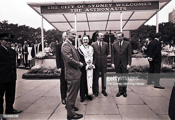 A reception is held in Hyde Park for the Apollo 11 astronauts who landed on the moon Michael Collins Neil Armstrong and Buzz Aldrin on November 1...