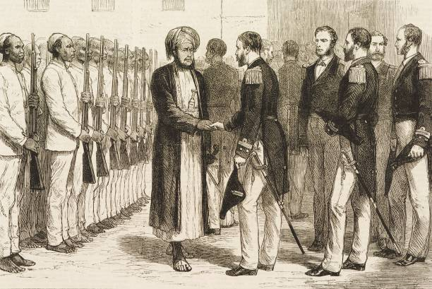 Reception of British naval officers by Barghash bin Said AlBusaid the Sultan of Zanzibar Zanzibar engraving illustration from the magazine The...