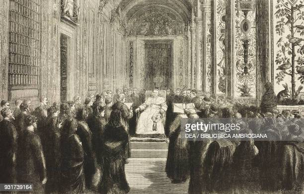 Reception of the Carcassonne pilgrims in the Vatican the last public audience of Pope Pius IX Vatican City November 21 engraving illustration from...