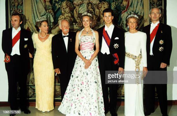 Reception of the future bride and groom with parents and grandfather in Nymphenburg Palace in Munich on 25 June 1993 on the occasion of the wedding...