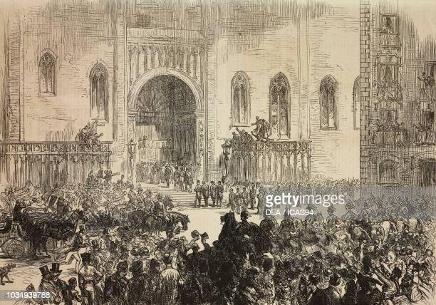 Reception of the king of Spain Alfonso XII at the cathedral, Barcelona, Spain, engraving from The Illustrated London News, No 1851, January 30, 1875.