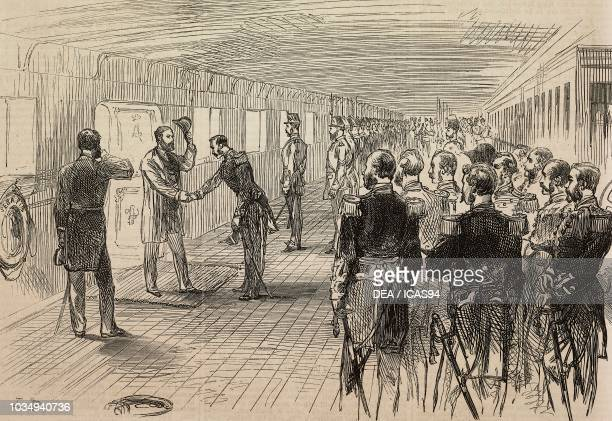 Reception of the prince of Wales on board HMS Serapis at Brindisi, Italy, Prince of Wales Edward's tour of India, engraving from The Illustrated...