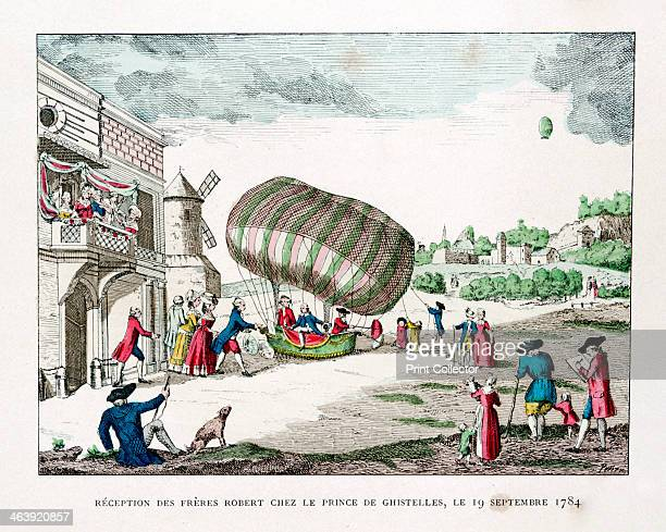 Reception of the Robert Brothers by the Prince of Ghistelles in 1784 French balloonists Noel and Jean Robert recieved by...