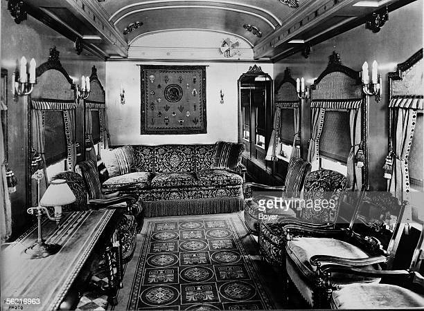 Reception room of the Mexican presidential train presented at the World's Fair of Chicago 1933