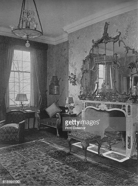 Reception room with Chinese Chippendale wallpaper and mirror house of Miss Anne Morgan New York City 1924 Anne Morgan was a wealthy socialite and...