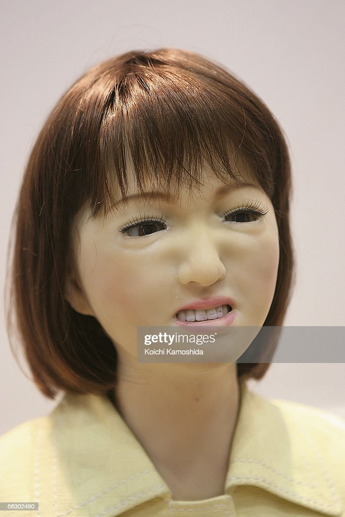 A receptioninst robot 'Saya' developed by Tokyo University of Science express a feeling of dislike during 2005 International Robot Exhibition on November 30, 2005 in Tokyo, Japan. Saya is able to communicate with visitors and and express her feeling such as happiness, surprise, anger etc. The Exhibition is on until December 3.