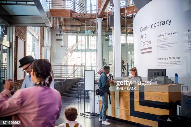A receptionist greets visitors at the Contemporary Arts Museum where Serena Williams will be getting married later this evening in New Orleans...