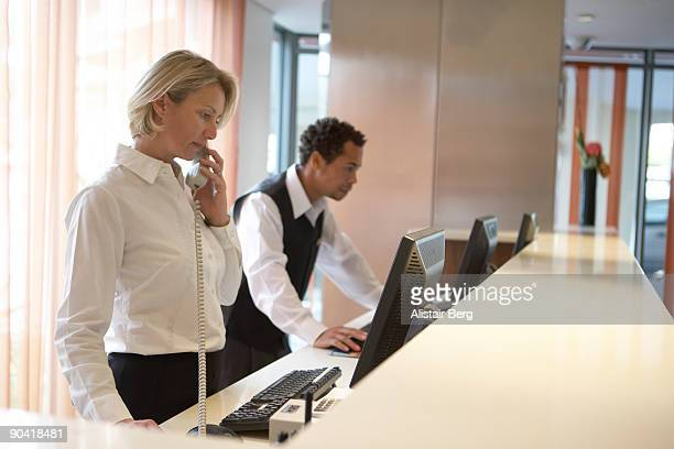 Receptionists in hotel