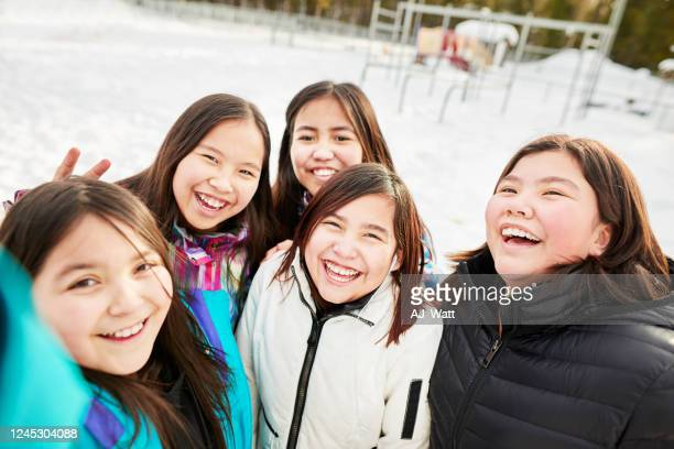 recess time selfies - first nations stock pictures, royalty-free photos & images