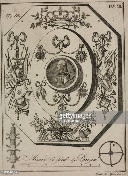 Recessed royal display copperplate engraving by Gaetano M Alfano from Istituzioni di Pirotecnica per istruzione di coloro che vogliono apprendere a...