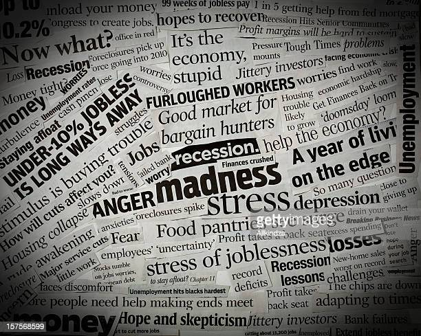 us recession headlines collage i - newspaper headline stock pictures, royalty-free photos & images