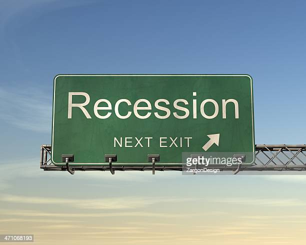 recession road sign - recession stock pictures, royalty-free photos & images