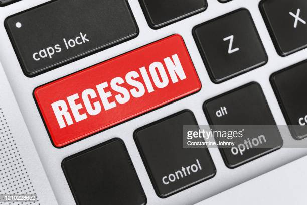 recession word on computer keyboard keys - bailout stock pictures, royalty-free photos & images