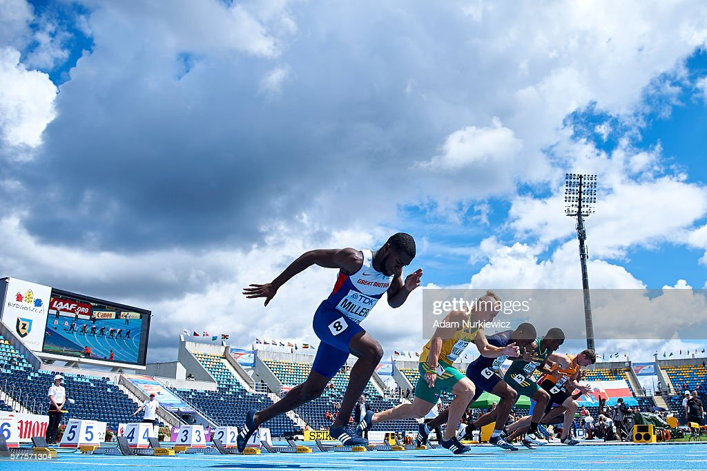 Rechmial Miller from Great Britain competes in men's 100 meters qualification during the IAAF World U20 Championships - Day 1 at Zawisza Stadium on July 19, 2016 in Bydgoszcz, Poland.
