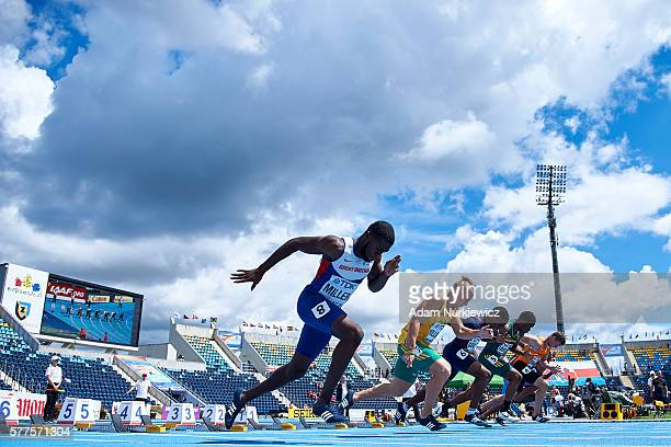 Rechmial Miller from Great Britain competes in men's 100 meters qualification during the IAAF World U20 Championships Day 1 at Zawisza Stadium on...