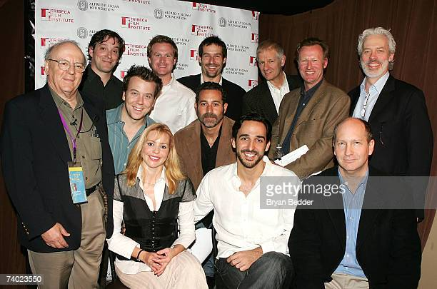 Recipient David Freeman with actors Eric Miller Jeremy Shamos Alex Cranmer Ian Kahn Tom Bloom Daniel Gerroll Terrence Mann Olivia D'Abo Waleed...