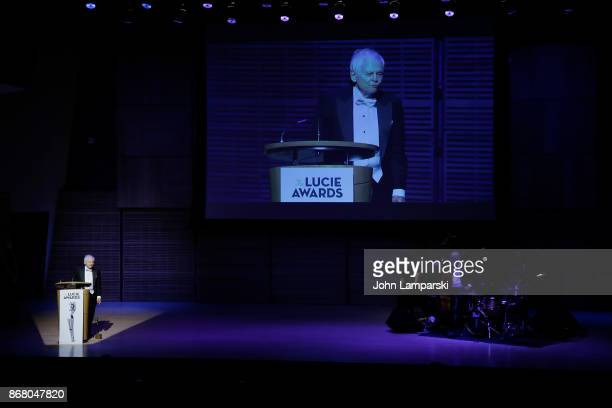 Recipient of Achievement in Photojournalism Award Steve Schapiro speaks at the 15th Annual Lucie Awards at Carnegie Hall on October 29 2017 in New...