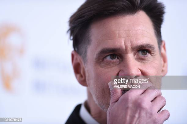 Recipient of Charlie Chaplin Britannia Award for Excellence in Comedy US/Canadian actor Jim Carrey arrives for the 2018 British Academy Britannia...