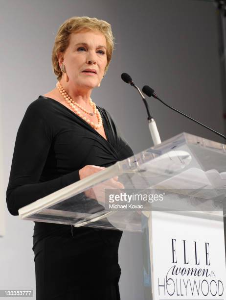 Recipient of L'Oreal Paris Legend Award Julie Andrews speaks at the 16th Annual ELLE Women in Hollywood Tribute at the Four Seasons Hotel on October...
