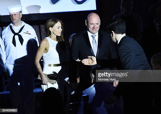 Recipient of The 2016 Intrepid 21stCentury Pioneer Award Astronaut Scott Kelly and Amiko Kauderer attend the Salute To Freedom 25th Anniversary Gala...