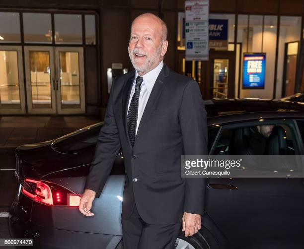 Recipient of the 2nd annual Lumiere award actor Bruce Willis arrives in a 2017 Tesla Model S 100D Sedan at the 2nd Annual Lumiere Award Celebration...