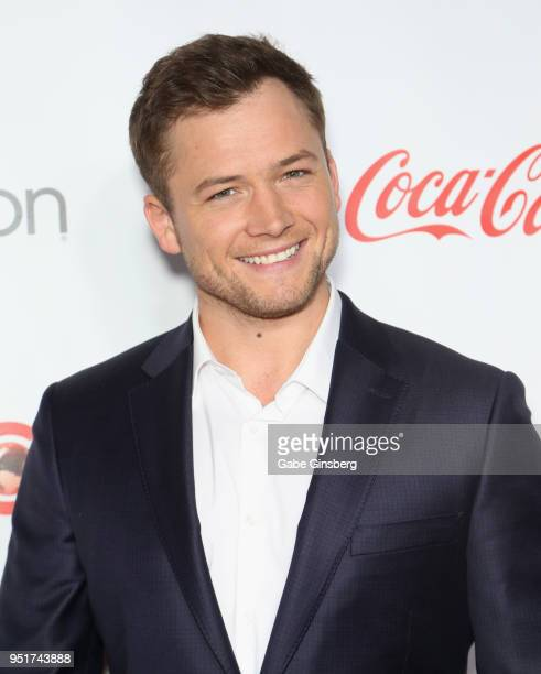 Recipient of the Action Star of the Year award actor Taron Egerton attends the CinemaCon Big Screen Achievement Awards at Omnia Nightclub at Caesars...