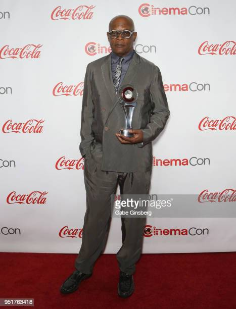 """Recipient of the """"Cinema Icon Award"""" actor Samuel L. Jackson attends the CinemaCon Big Screen Achievement Awards at Omnia Nightclub at Caesars Palace..."""