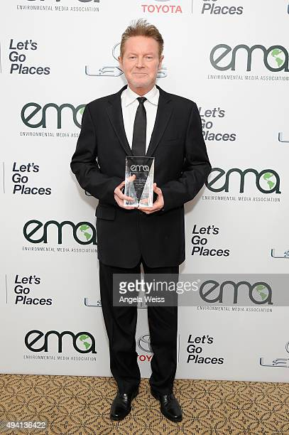 Recipient of the EMA Missions in Music Award, Don Henley poses backstage during the 25th annual EMA Awards presented by Toyota and Lexus and hosted...