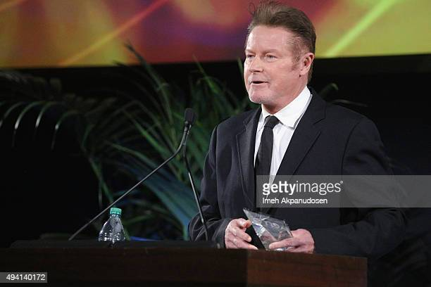 Recipient of the EMA Missions in Music Awards Don Henley speaks onstage during the 25th annual EMA Awards presented by Toyota and Lexus and hosted by...
