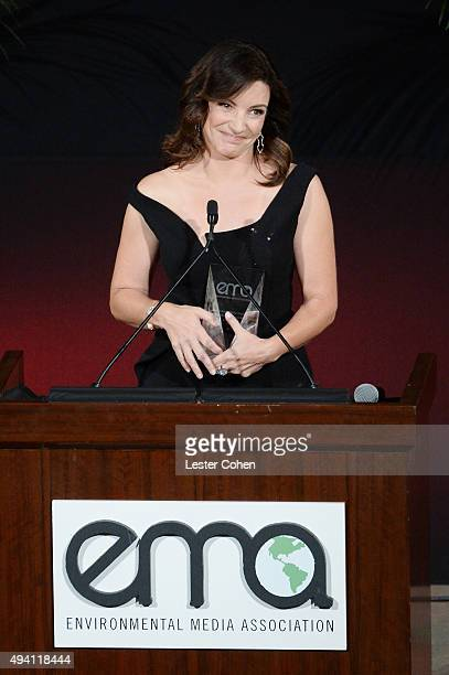 Recipient of the EMA Wildlife Conservation Award Kristin Davis speaks onstage during the 25th annual EMA Awards presented by Toyota and Lexus and...