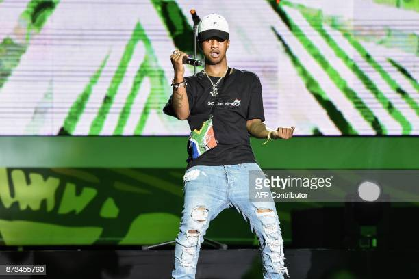 Recipient of the of Best Southern African Best Male Artist South African rap singer Emtee performs during the All Africa Music Awards in Lagos on...