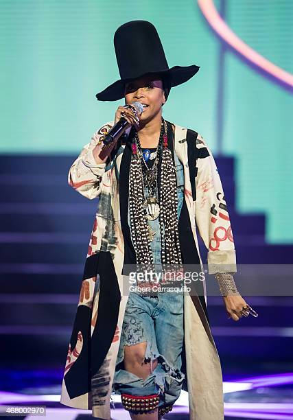 Recipient of the Rock Star award singersongwriter Erykah Badu performs onstage during 2015 'Black Girls Rock' BET Special at NJ Performing Arts...