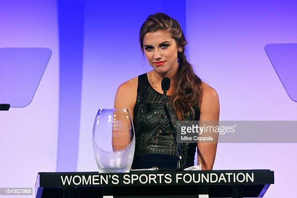 Recipient of the Sportswoman of the Year Award for a team sport Alexandra 'Alex' Morgan speaks onstage at the 33rd annual Salute To Women In Sports...
