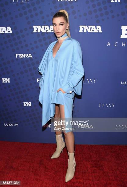Recipient of the Style Influencer of the Year Award Hailey Baldwin attends the 31st FN Achievement Awards at IAC Headquarters on November 28 2017 in...