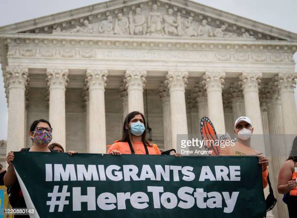 DACA recipients and their supporters rally outside the US Supreme Court on June 18 2020 in Washington DC On Thursday morning the Supreme Court in a...