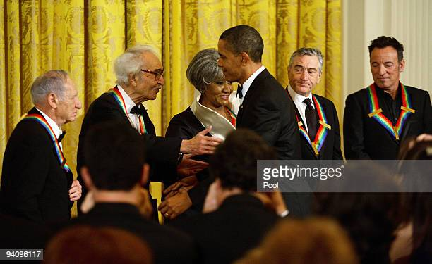 Recipients of the 2009 Kennedy Center Honors Mel Brooks, Dave Brubeck, Grace Bumbry, Robert De Niro, and Bruce Springsteen are greeted by U.S....