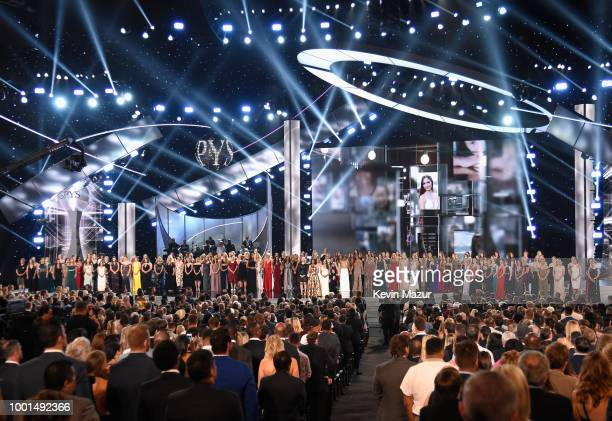 Recipients of the Arthur Ashe Award for Courage speak onstage at The 2018 ESPYS at Microsoft Theater on July 18 2018 in Los Angeles California