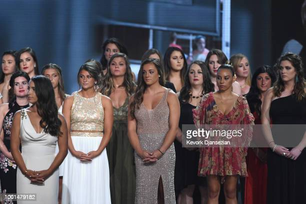 Recipients of the Arthur Ashe Award for Courage stand together onstage at The 2018 ESPYS at Microsoft Theater on July 18 2018 in Los Angeles...