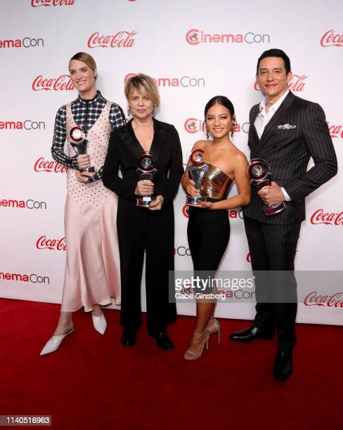 "Recipients of the CinemaCon Ensemble Award for the upcoming movie ""Terminator Dark Fate"" actresses Mackenzie Davis Linda Hamilton Natalia Reyes and..."