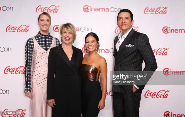 "Recipients of the CinemaCon Ensemble Award for the upcoming movie ""Terminator Dark Fate"" actresses Mackenzie Davis Linda Hamilton Natalia Reyes and..."
