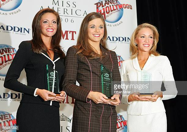 Recipients of the Miss America 2006 Quality of Life Award first runnerup Jennifer Berry Miss Oklahoma winner Tracey Brown Miss Idaho and secondplace...