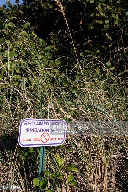 A reclaimed water irrigation area sign at North Hutchinson Island