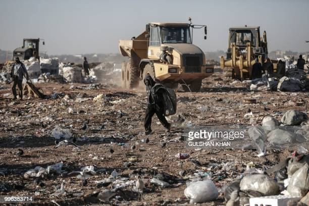 Reclaimers collect waste at Robinson Deep landfill Johannesburg's largest landfill on June 29 2018