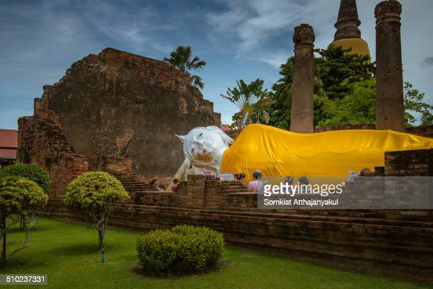 Reclining Buddha with Nice Sky at Wat Yai Chai Mongkhon in Ayutthaya Thailand