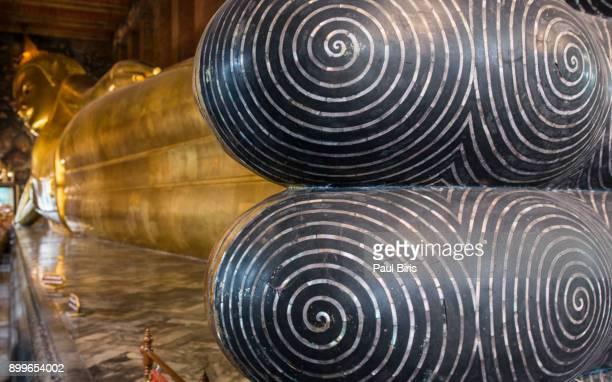 Reclining buddha's feet details , Wat Pho , Bangkok, Thailand