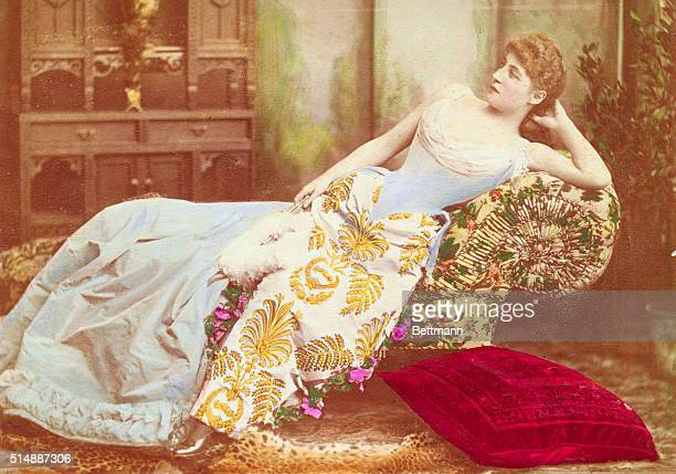 Reclining portrait of Lillie Langtry British actress in costume for her role as Lady Ormonde in Peril