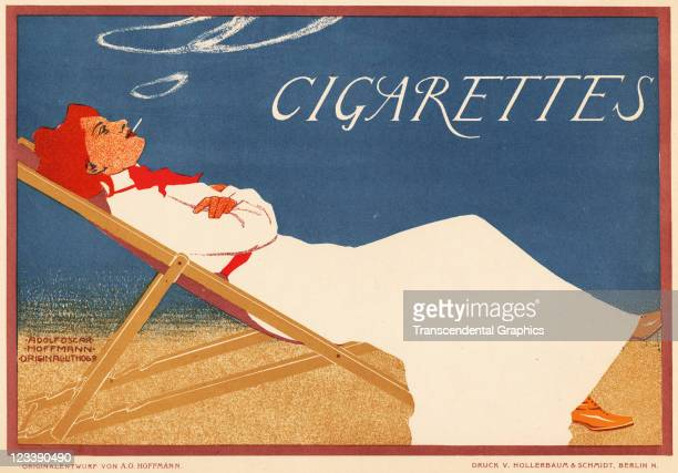 A reclining smoking woman advertises cigarettes from mid 1890s in Berlin Germany
