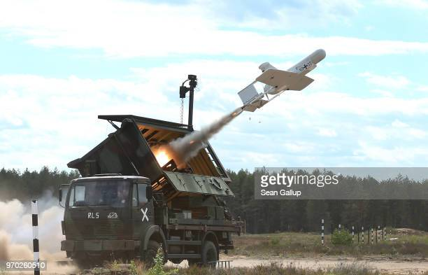 KZO reconaissance drone of the Bundeswehr the German armed forces launches with the help of a booster rocket during Thunder Storm 2018 multinational...
